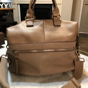 Moda Luxe Taupe Leather & Suede Satchel Handbag